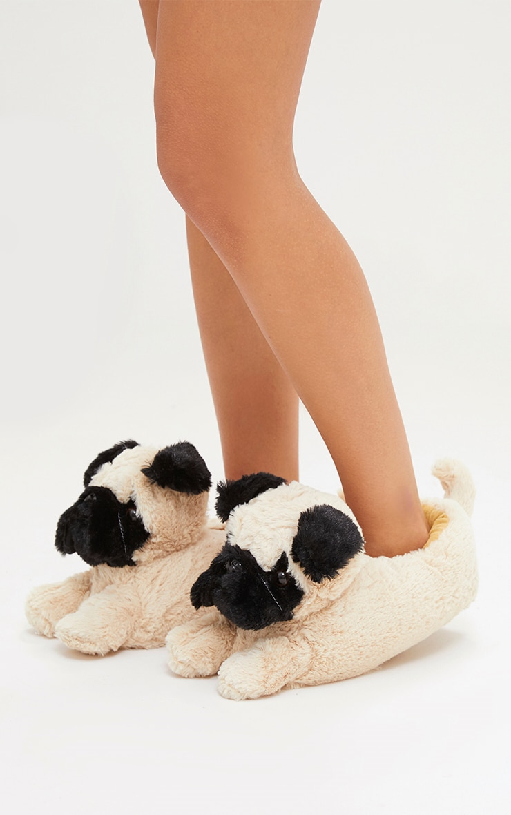 Brown Pug Slippers 2