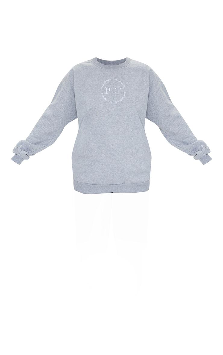 PRETTYLITTLETHING Grey Circle Logo Sweatshirt 5