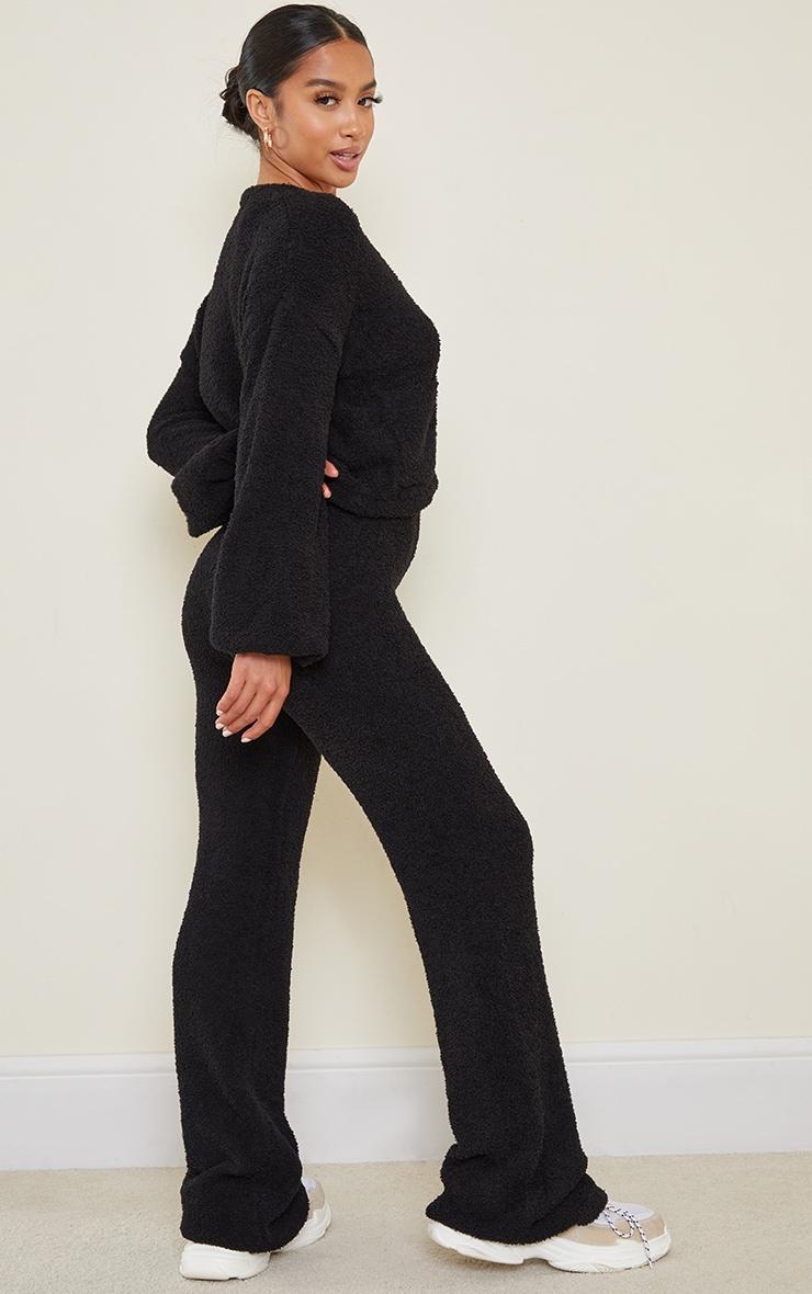 Petite Black Premium Fluffy Knit Wide Leg Set 2