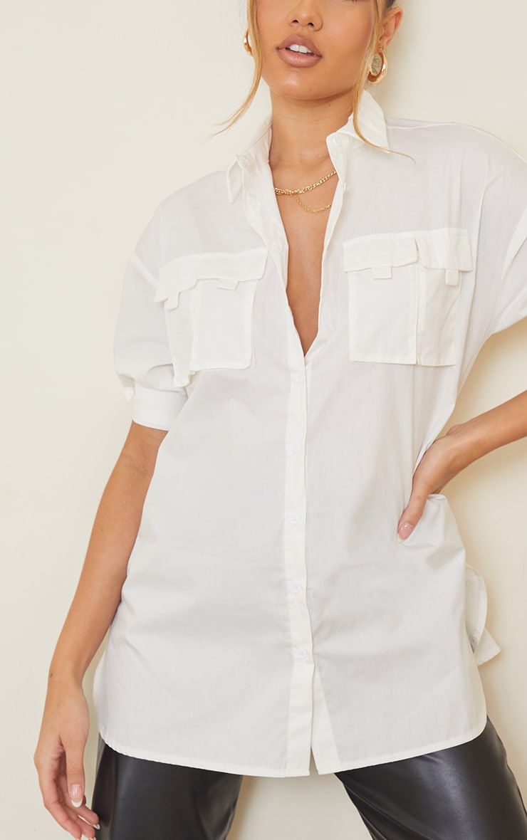 White Woven Oversized Pocket Detail Roll Sleeve Shirt 4