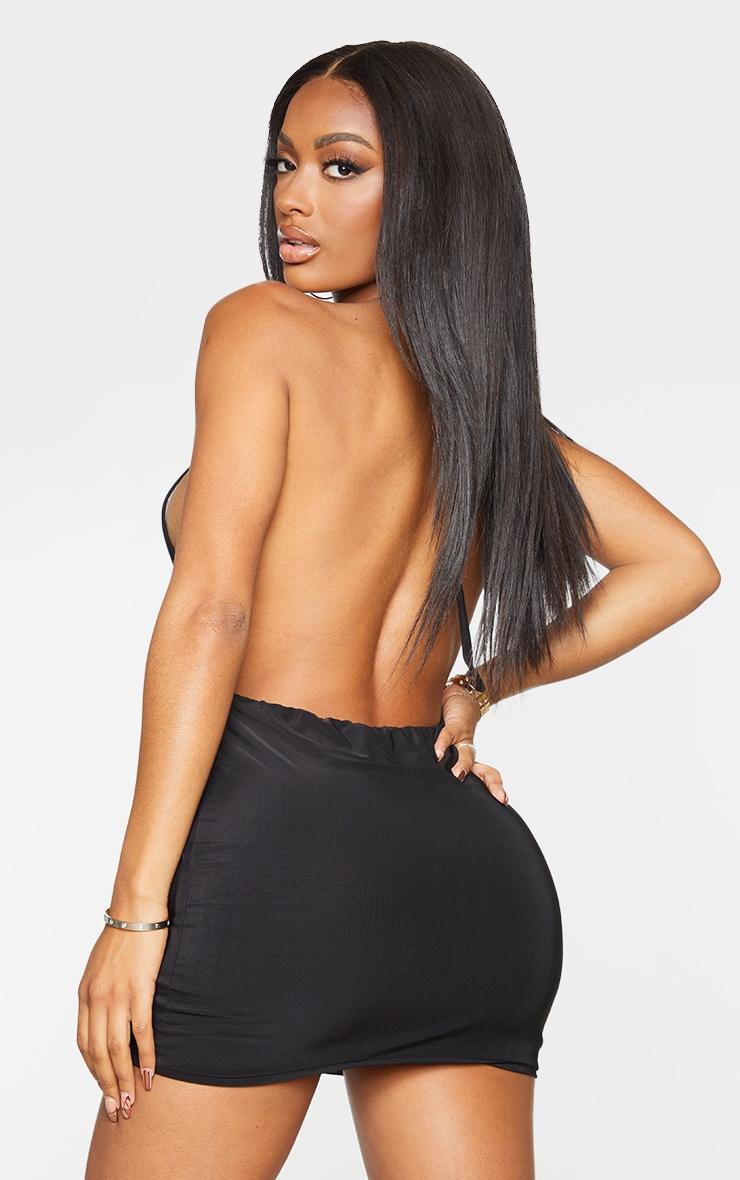 Shape Black Slinky High Neck Backless Bodycon Dress 2