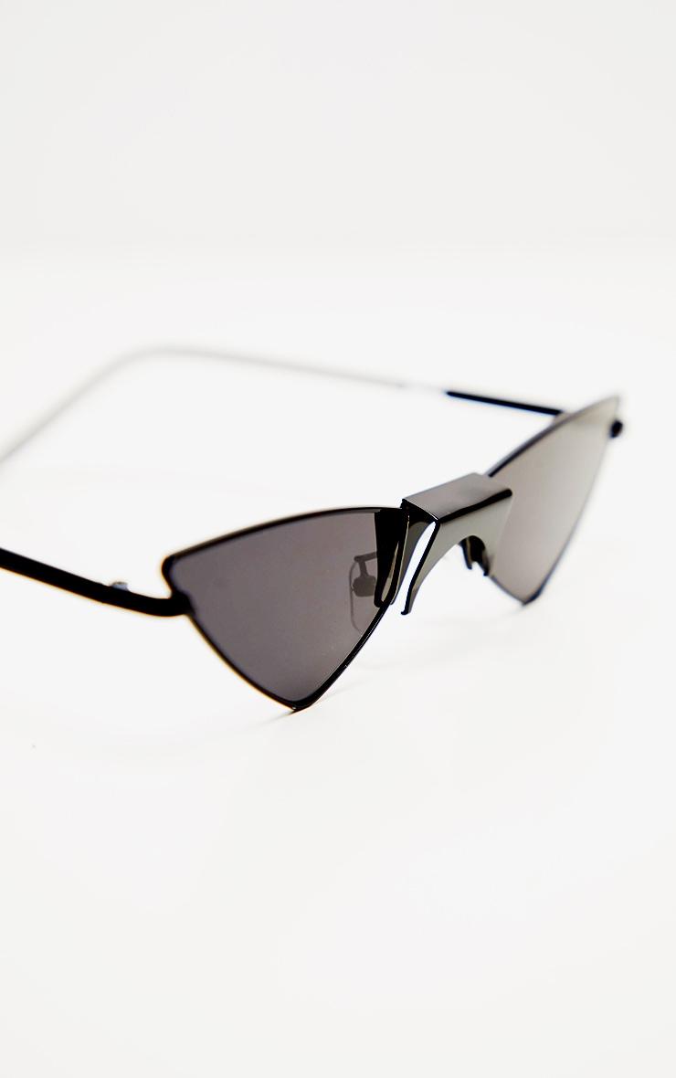Black Tinted Angled Almond Shaped Sunglasses 3