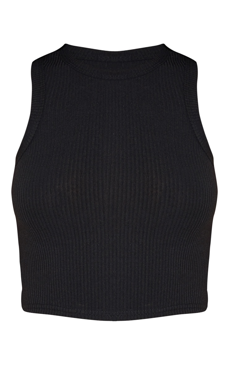 Black Rib Racer Neck Vest 4