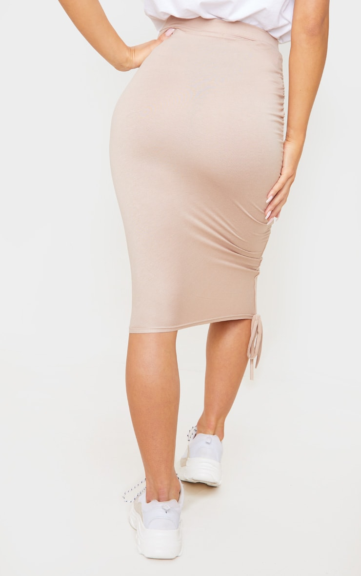 Stone Jersey Ruched Side Detail Midi Skirt  4