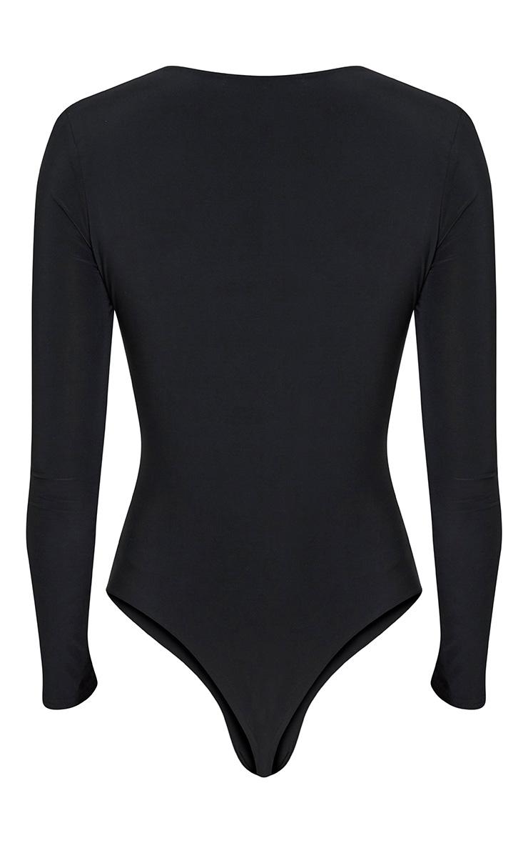 Quincy body-string moulant plongeant à manches longues noir 3