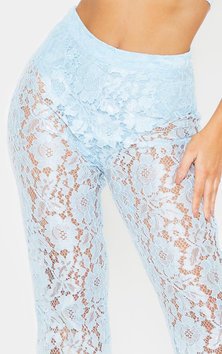 Baby Blue Lace Sheer Flare Leg Pants 5