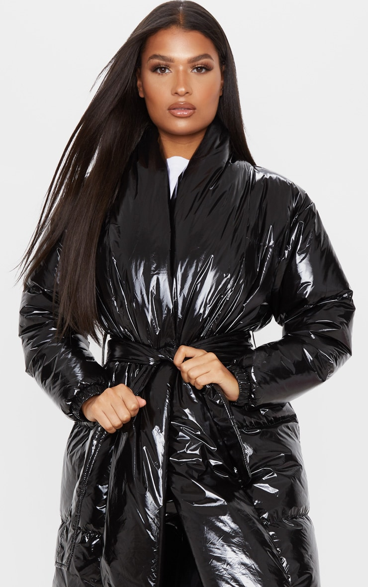 Black Shine Puffer Maxi Coat 5