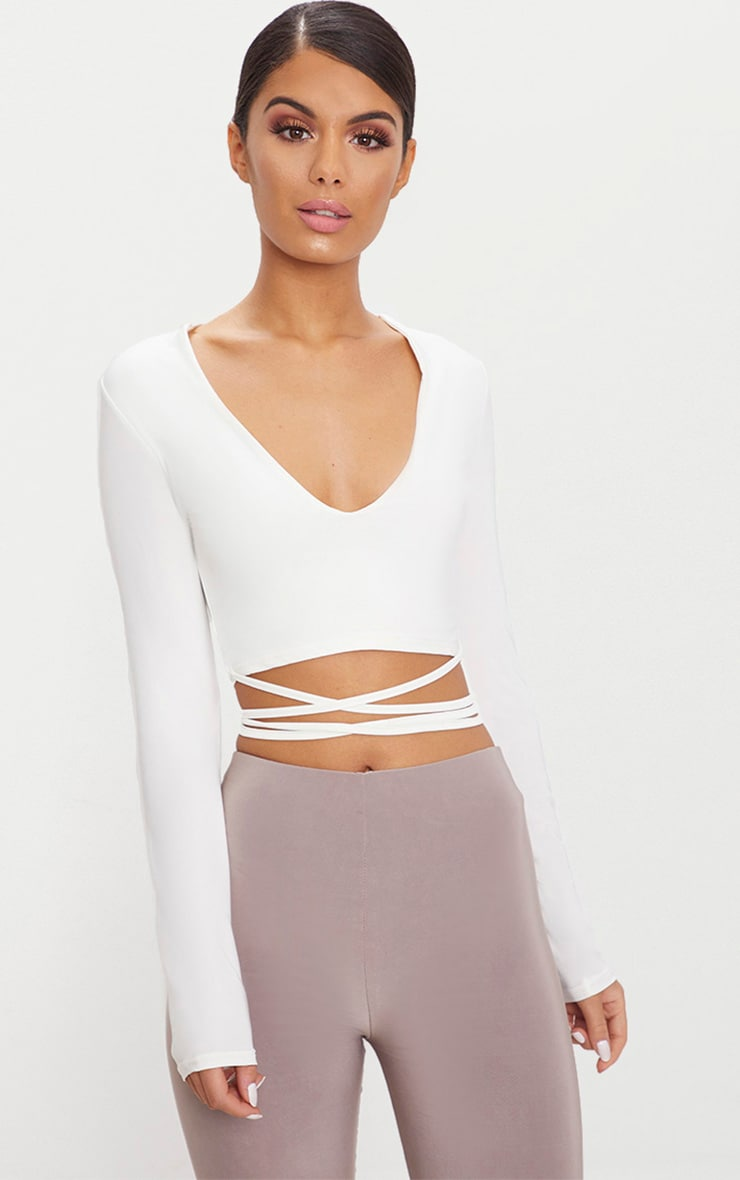 White  Slinky Long Sleeve Tie Waist Crop Top  1