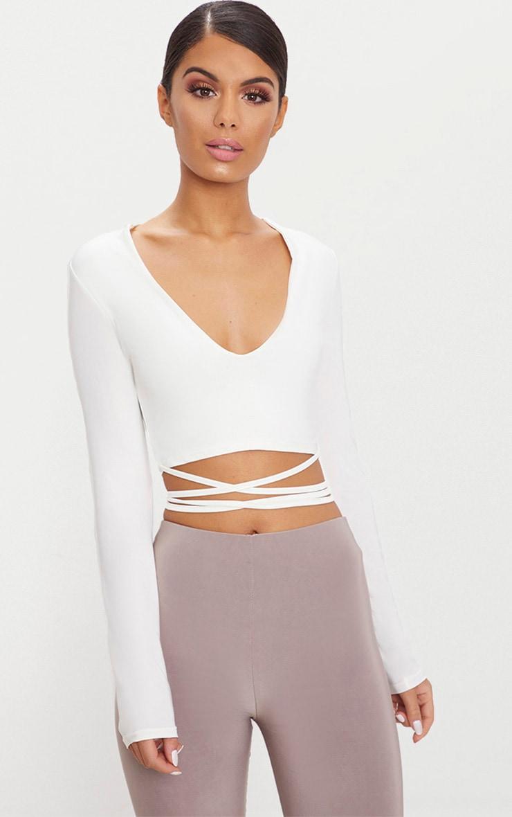 White Slinky Long Sleeve Tie Waist Crop Top 1