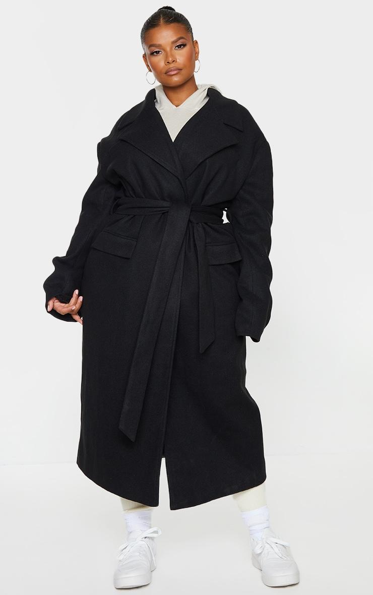 Plus Black Oversized Tie Waist Midi Coat 1