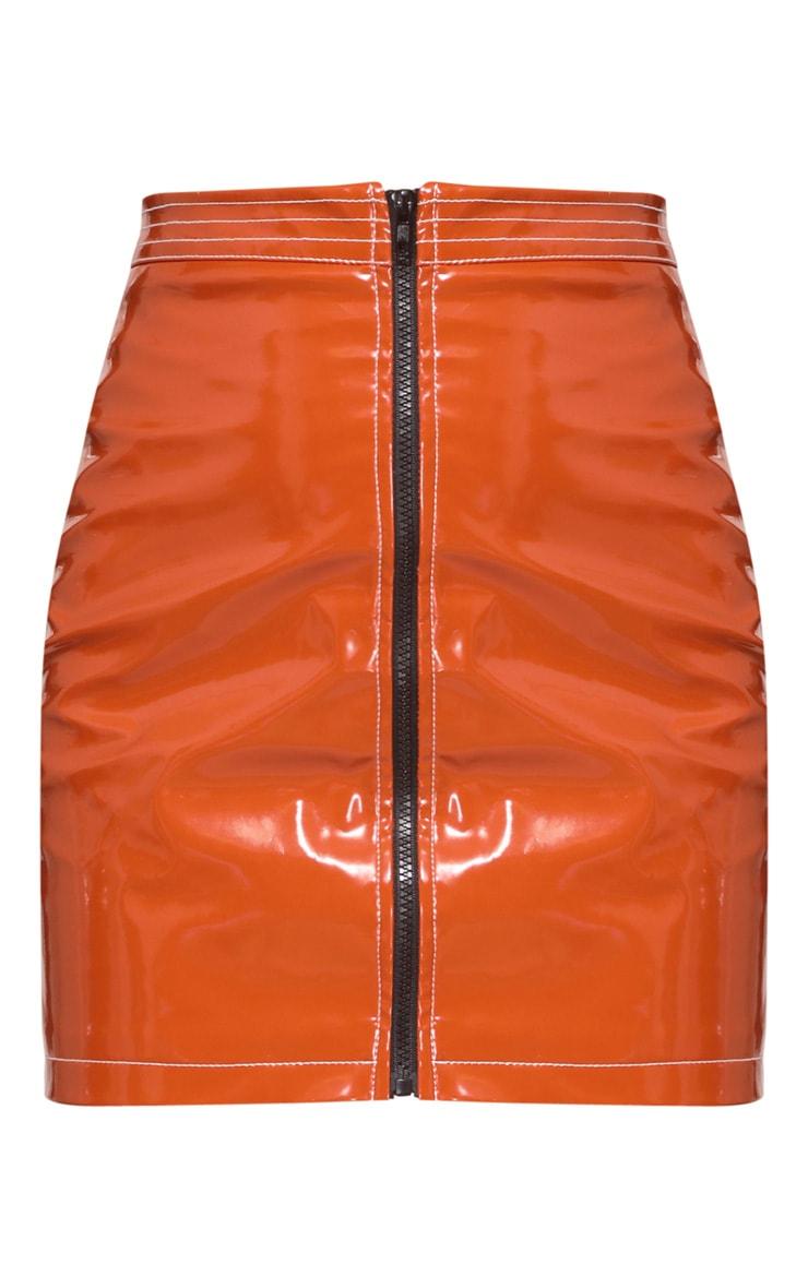 Toffee Vinyl Zip Detail Mini Skirt 4