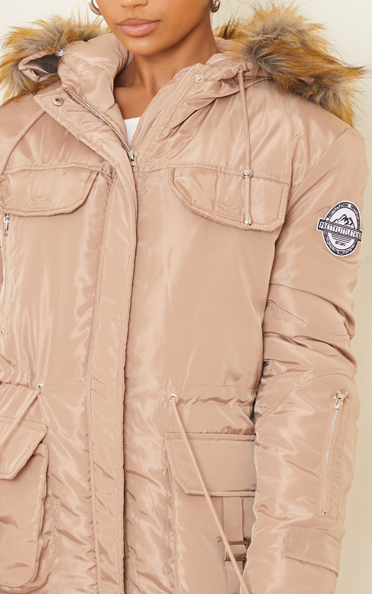 PRETTYLITTLETHING Recycled Taupe Nylon Faux Fur Hooded Parka Jacket 4