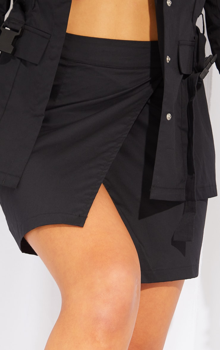 Black Woven Cargo Utility Panel Front Mini Skirt 5