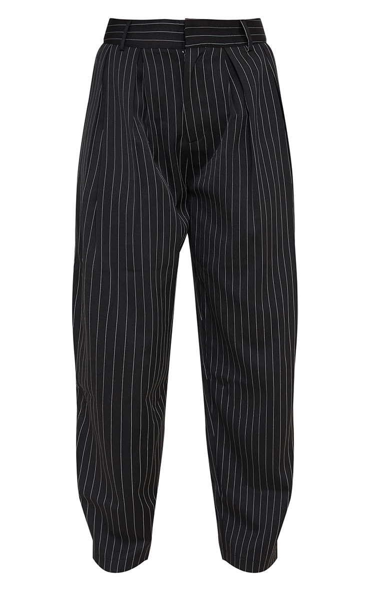 Black Pinstripe Woven High Waisted Trousers 5