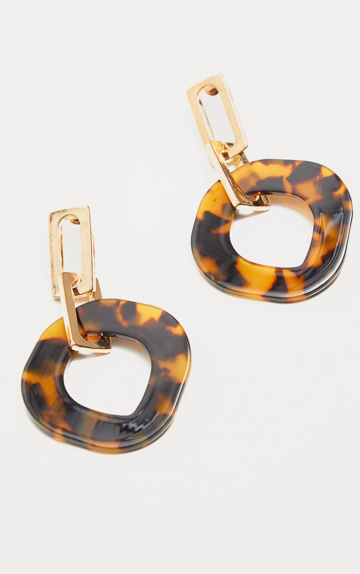 Brown Tortoiseshell Resin Irregular Ring Drop Earrings 2