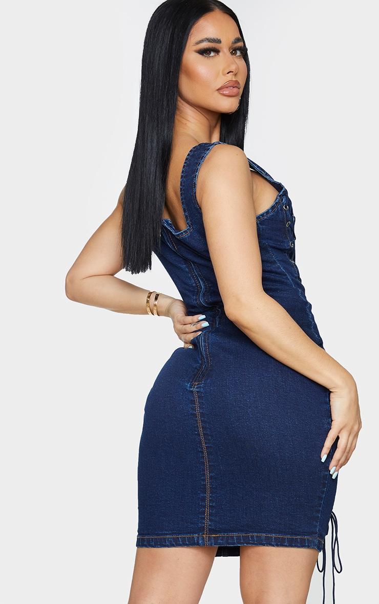 Shape Mid Blue Wash Lace Up Detail Square Neck Denim Bodycon Dress 2