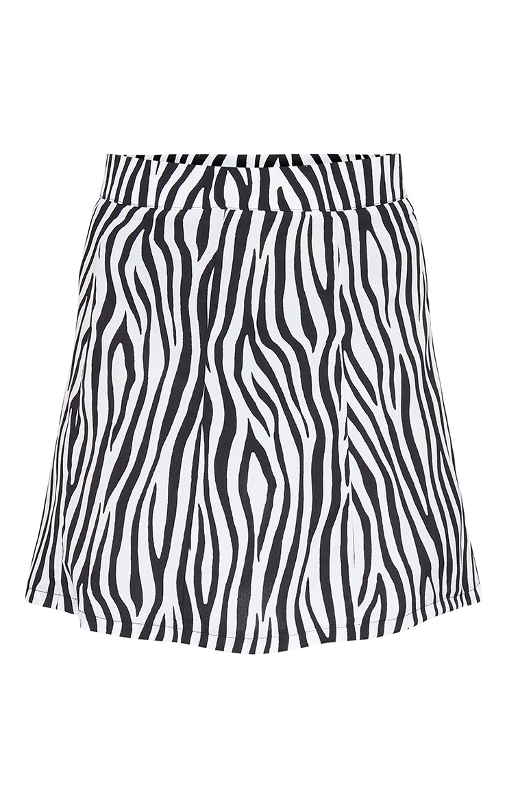 Zebra Print Satin Mini Skirt 6