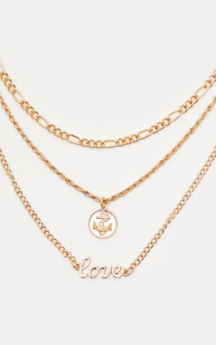 Gold Love Coin Layered Necklace 4