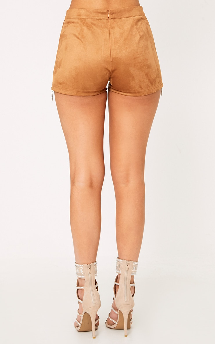 Camel Faux Suede Ring Zip Shorts 5