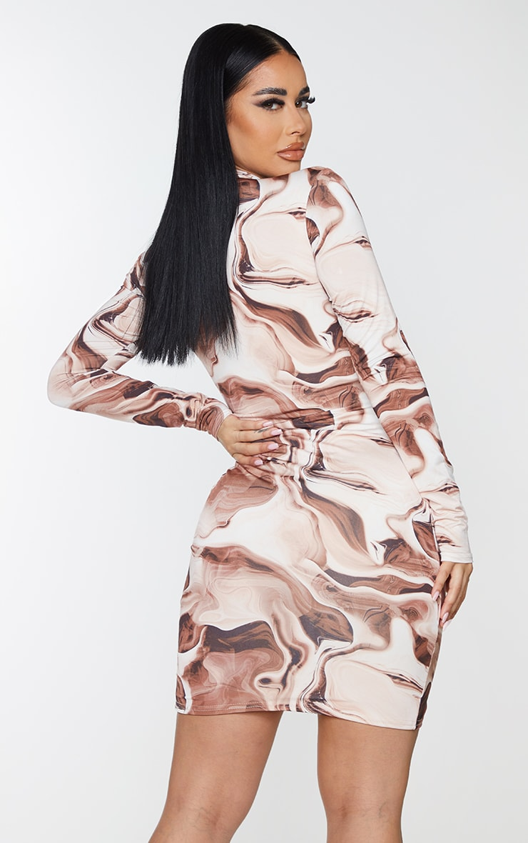 Shape Brown Marble Print Zip Front Collar Detail Bodycon Dress 3