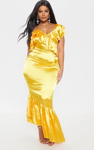 b1cee2b31b Plus Bright Yellow Satin Frill Strap Maxi Dress PrettyLittleThing Sticker