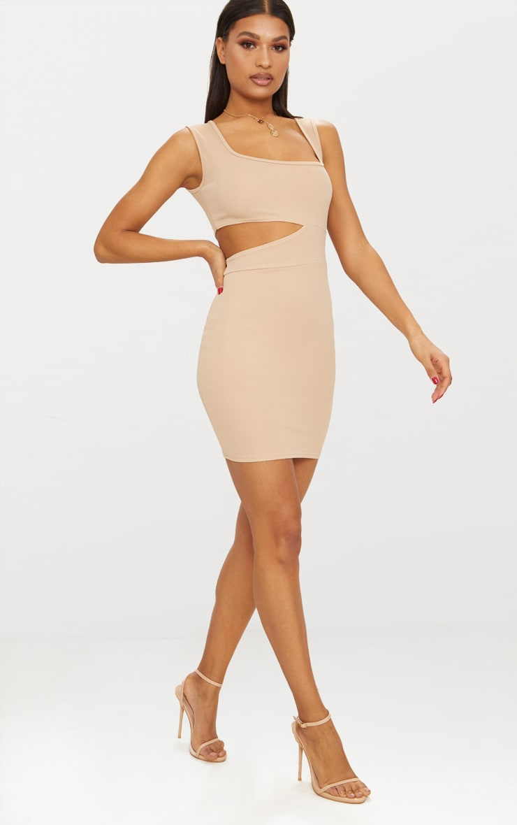Stone Square Neck Cut Out Bodycon Dress 4