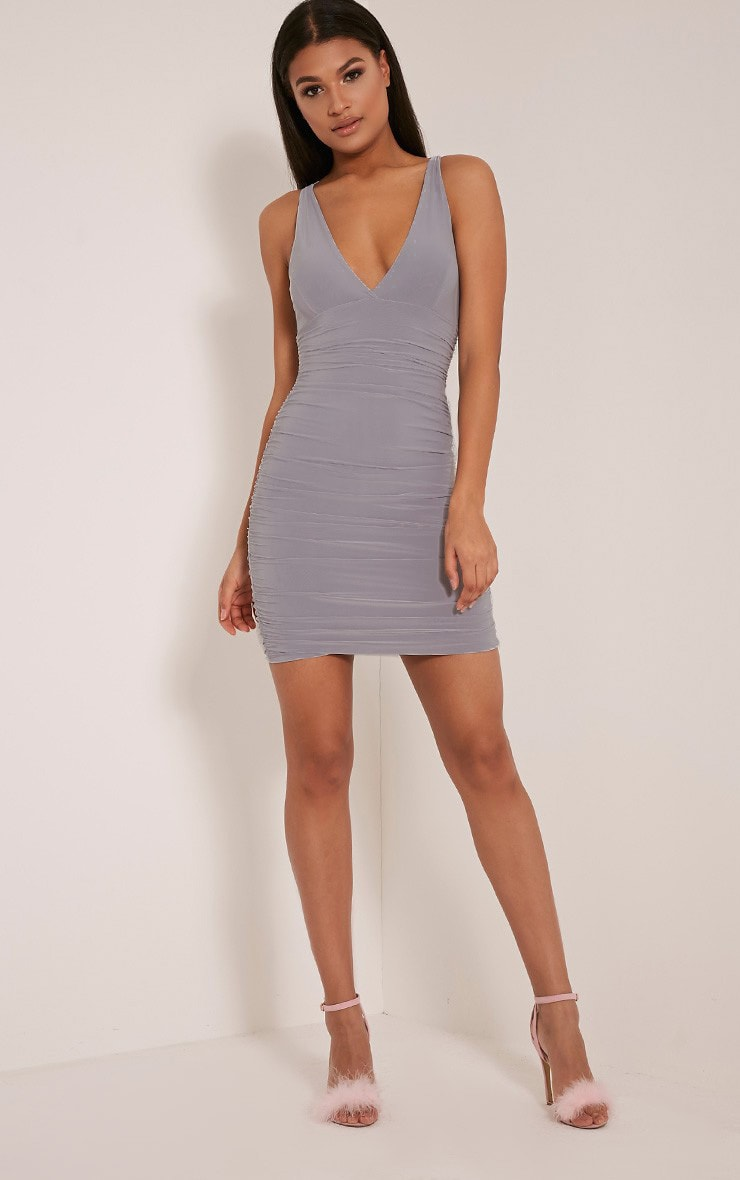Agness Grey Cross Back Ruched Bodycon Dress 5