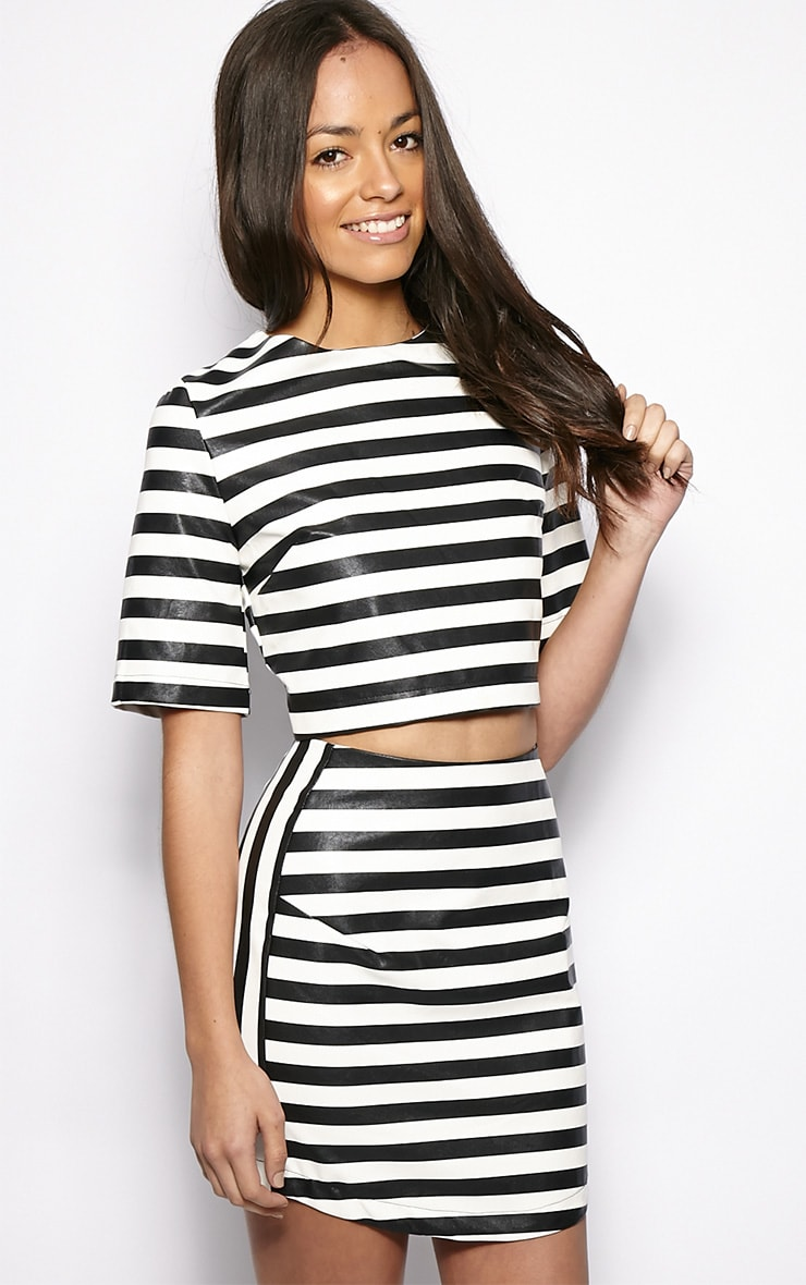 Chelsea Monochrome Leather Crop Top 1