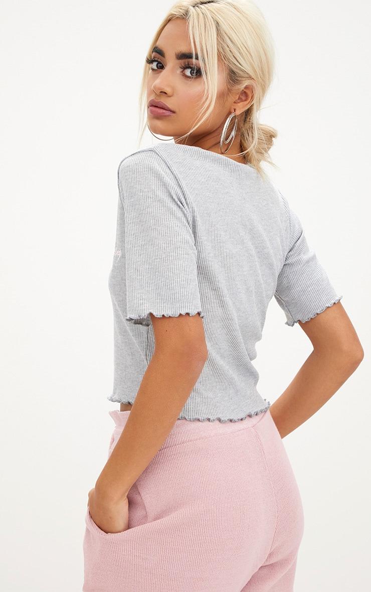 Grey Cute Embroidered Slogan Rib Crop Top 2