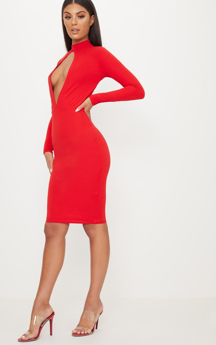 Red Keyhole Cut Out Midi Dress 4