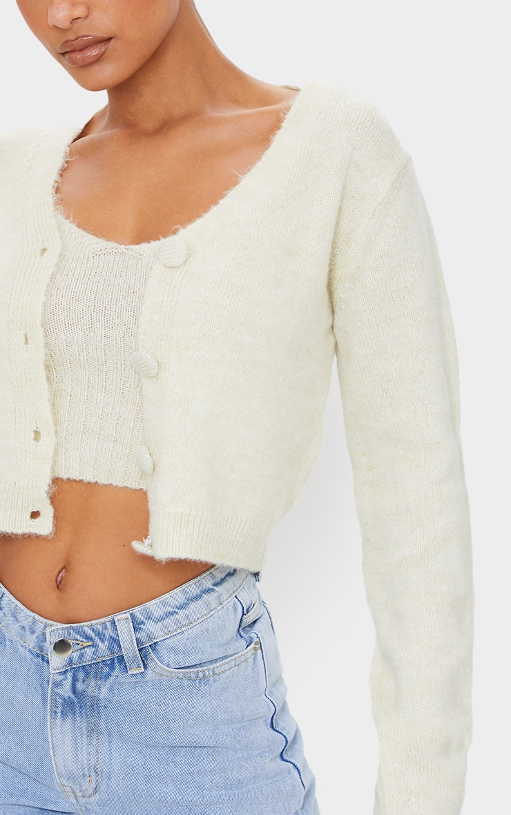 Cream Cosy Knitted Cropped Button Down Cardigan 4