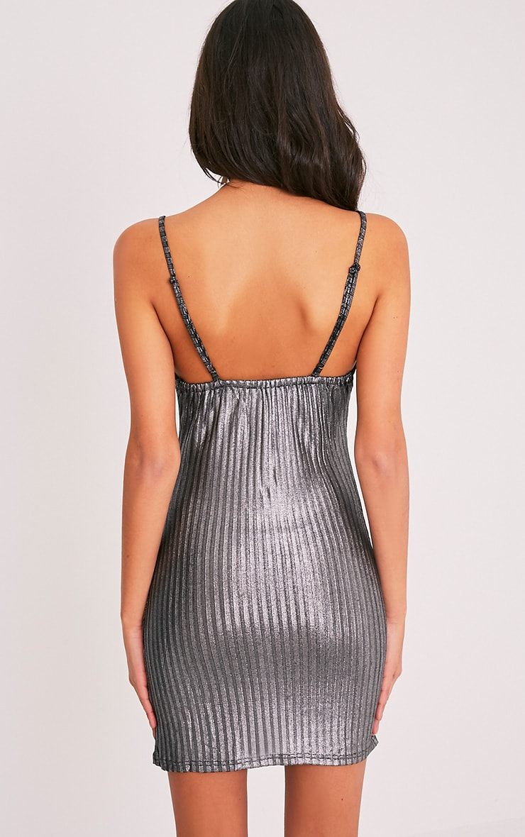 Abbygail Silver Metallic Ribbed Knitted Mini Dress 2