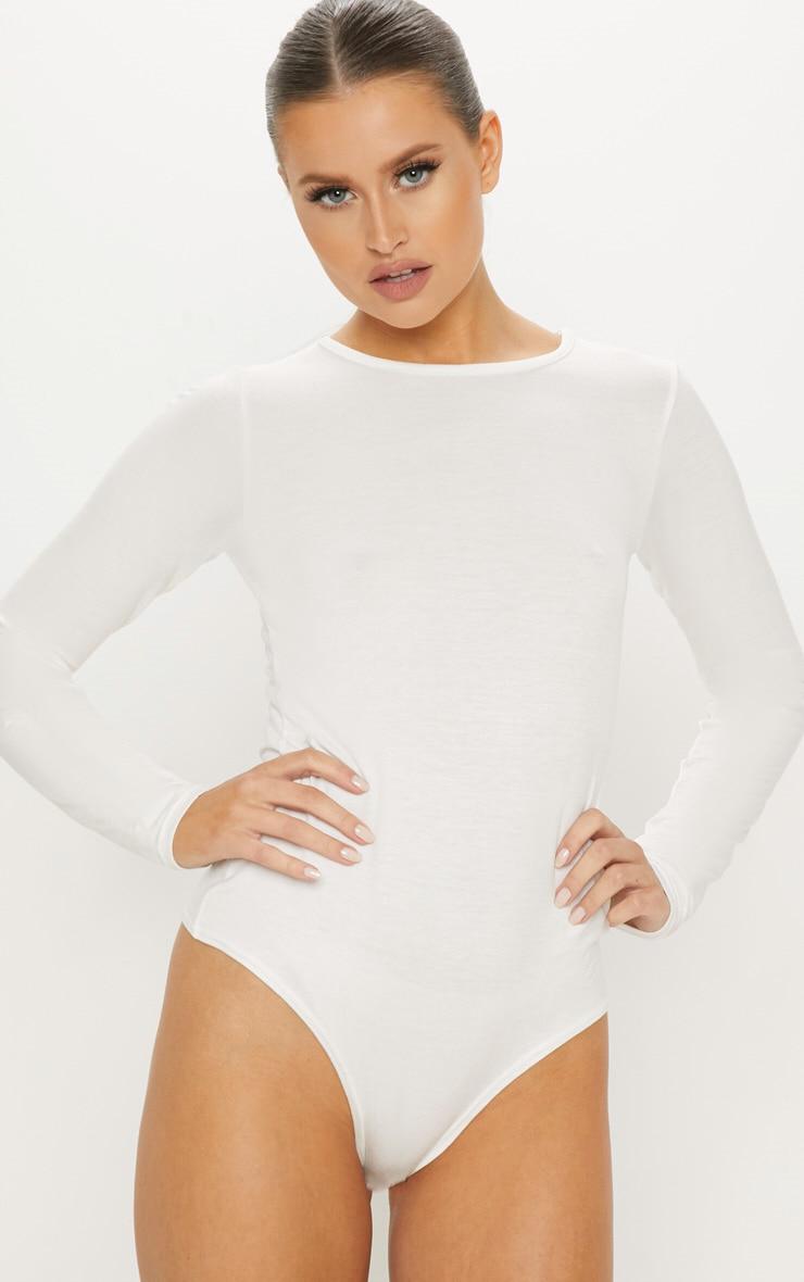 Cream Crew Neck Long Sleeve Bodysuit 2