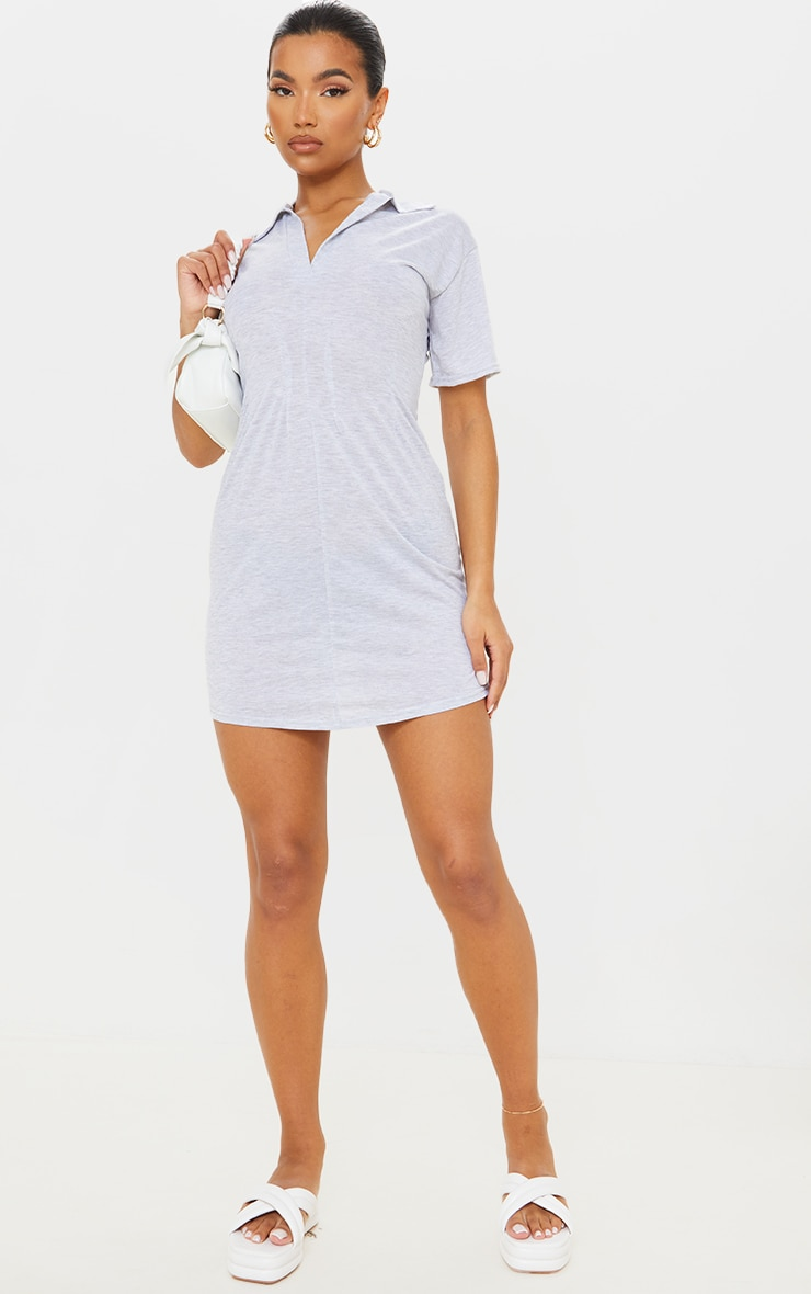 Grey Marl Polo Collar Pleated Detail Shift Dress 1