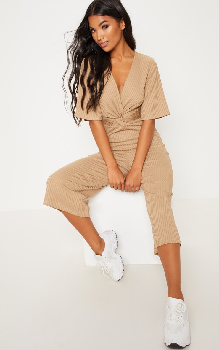 Deep Stone Ribbed Twist Detail Culotte Jumpsuit 1