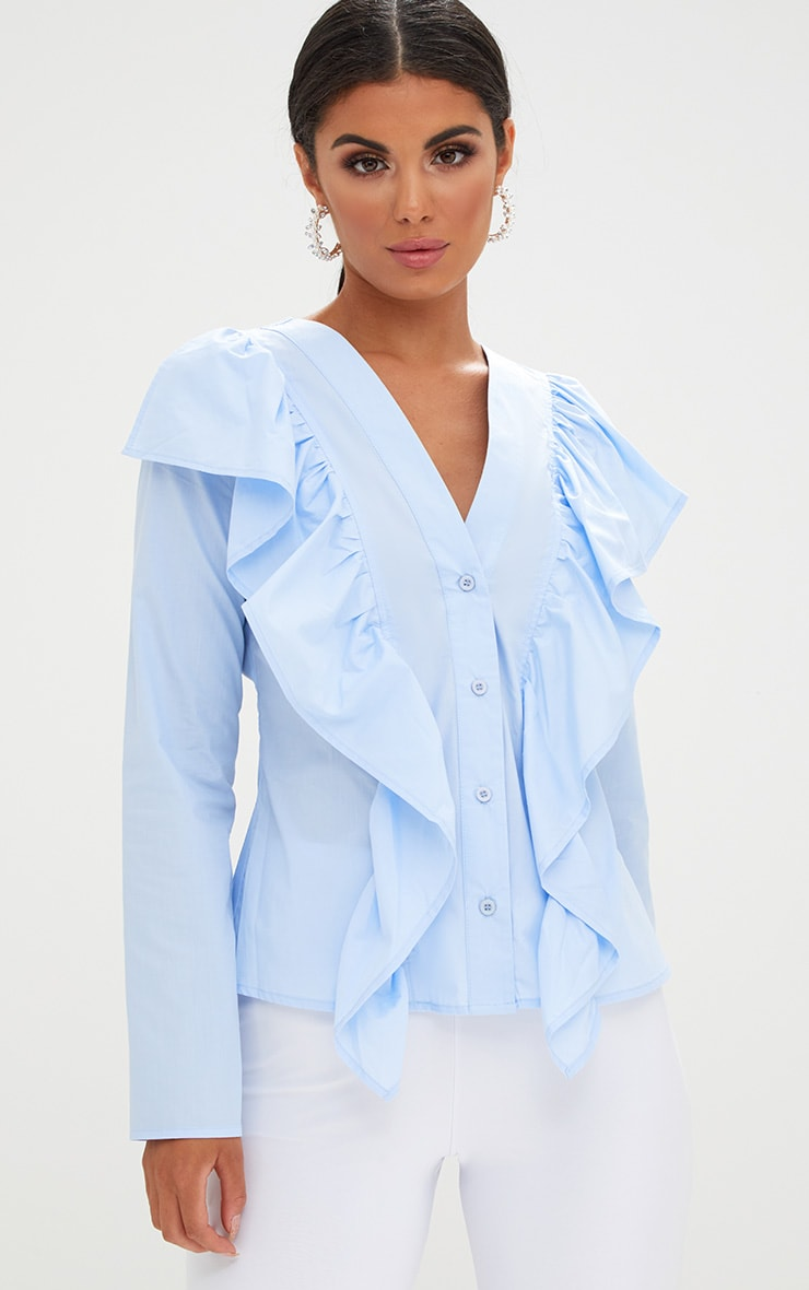 Pale Blue Frill Front V Neck Shirt  1