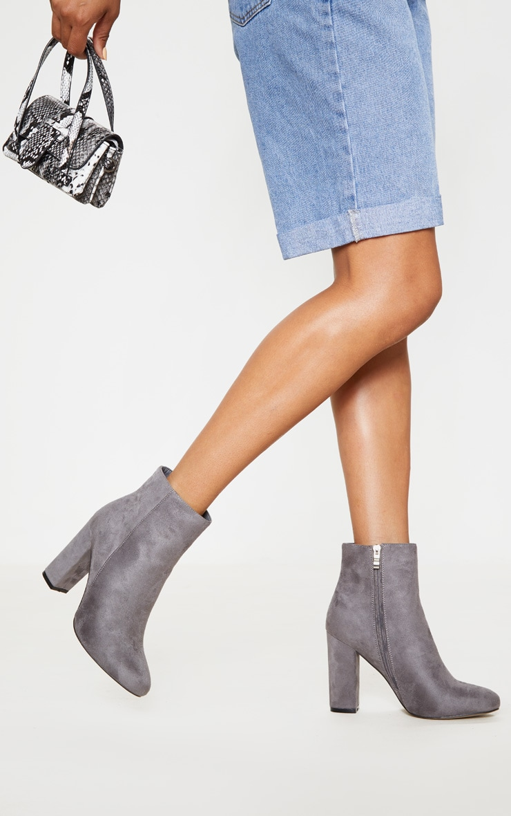 Grey Faux Suede Ankle Boots 2
