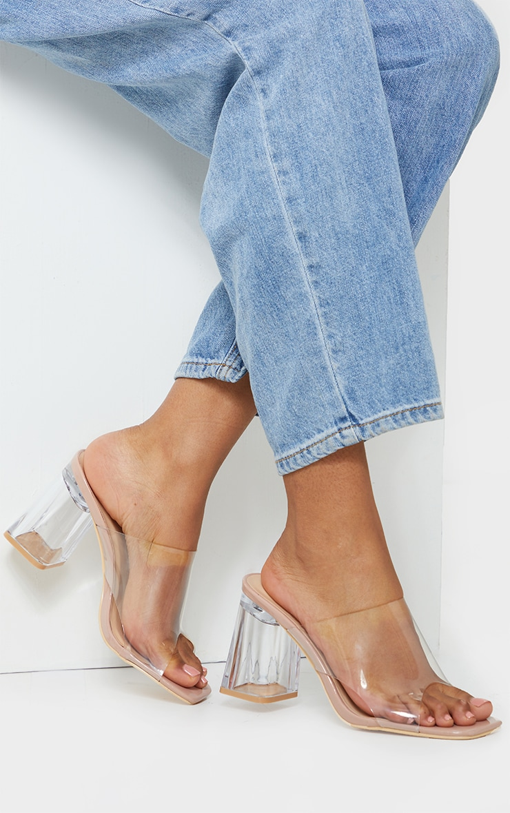 Nude Wide Fit Clear Flared Block Heel Mules 1