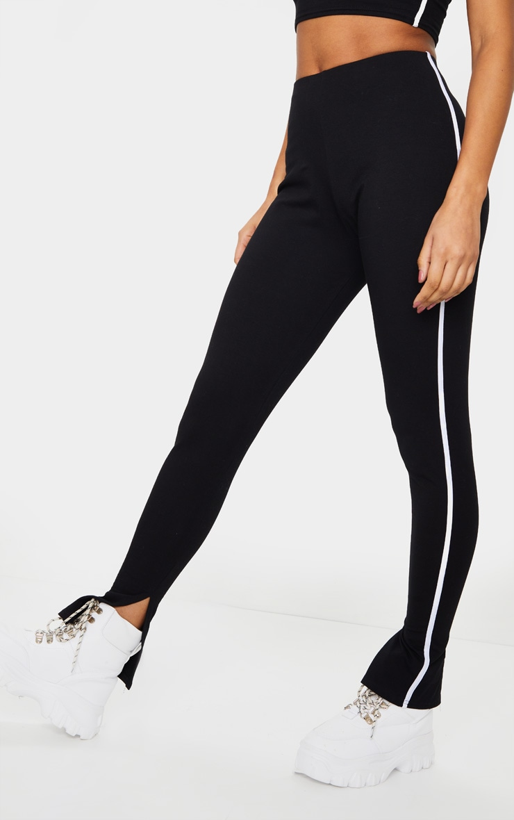 Black Sports Stripe High Waisted Split Hem Pants 2