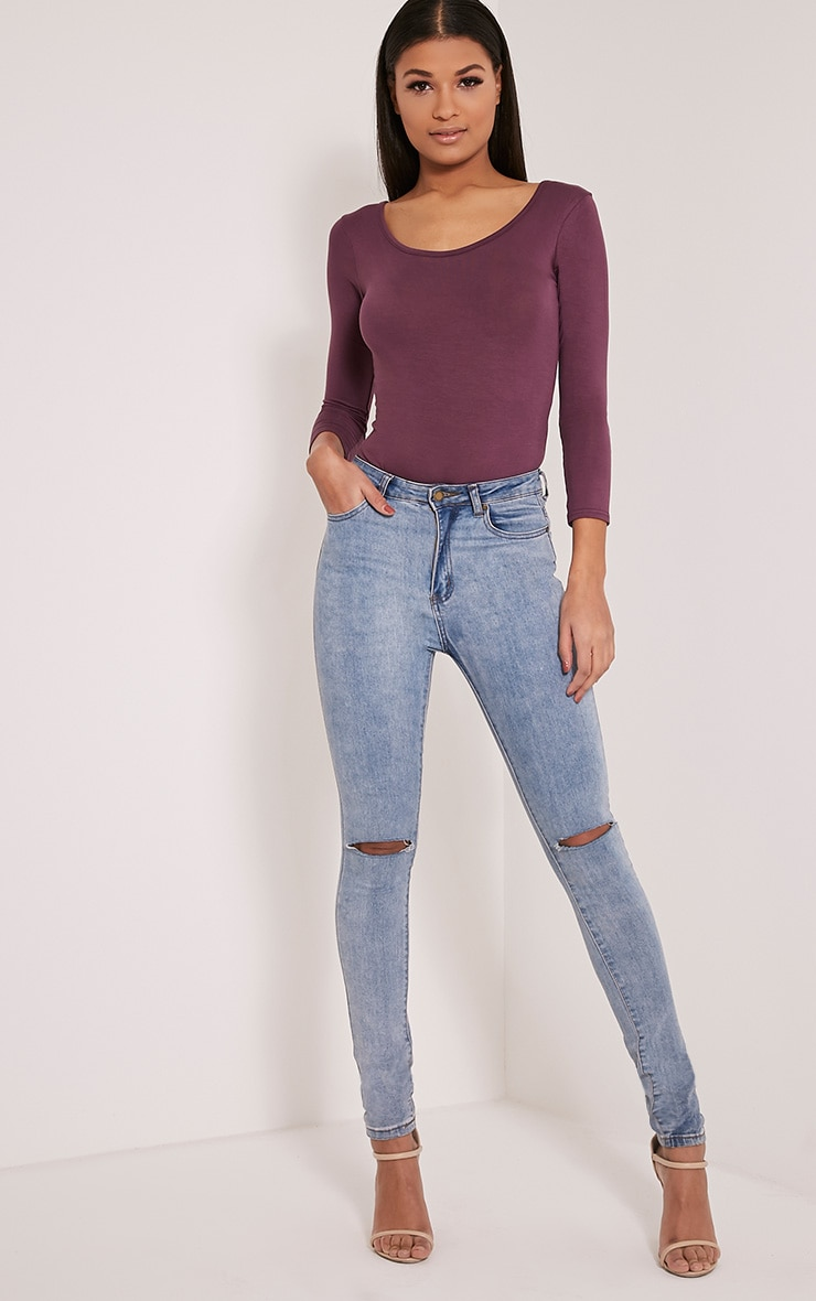 Basic Aubergine Scoop Neck Thong Bodysuit 2