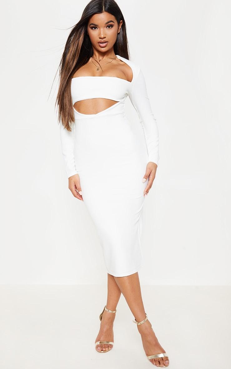 White Shoulder Pad Cut Out Midi Dress 1