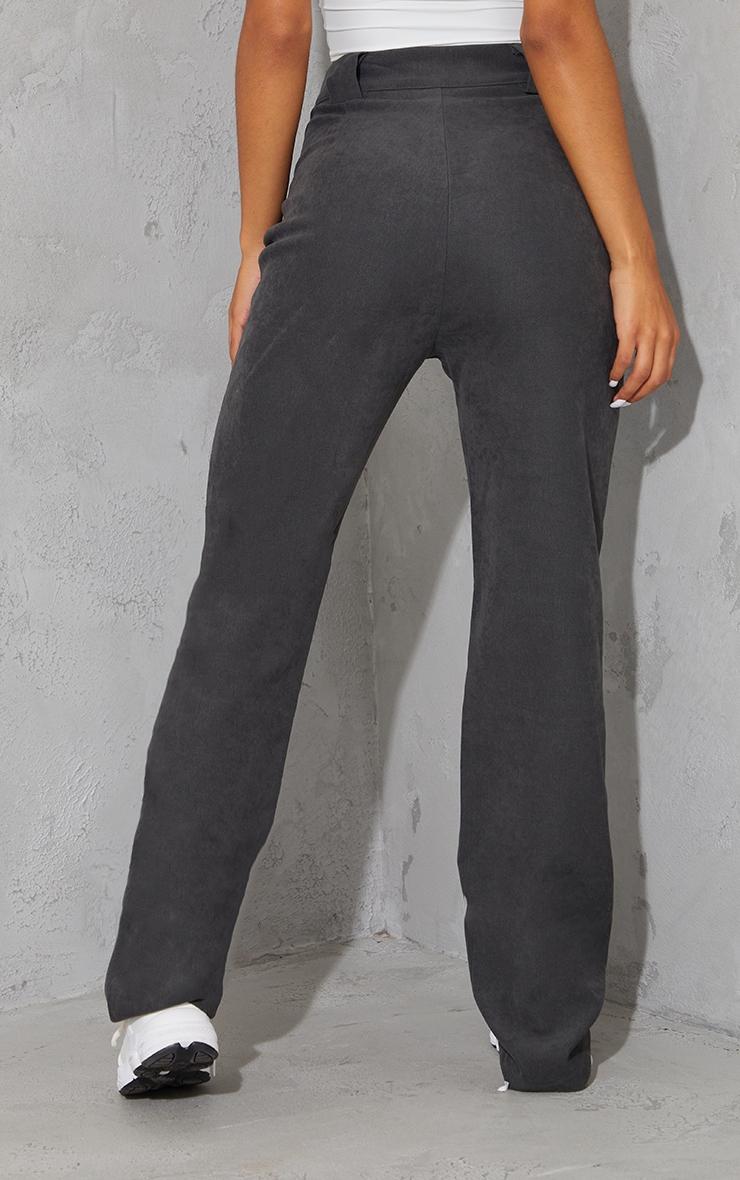 Charcoal Grey Premium Twill Blend Pleat Detail Trousers 3