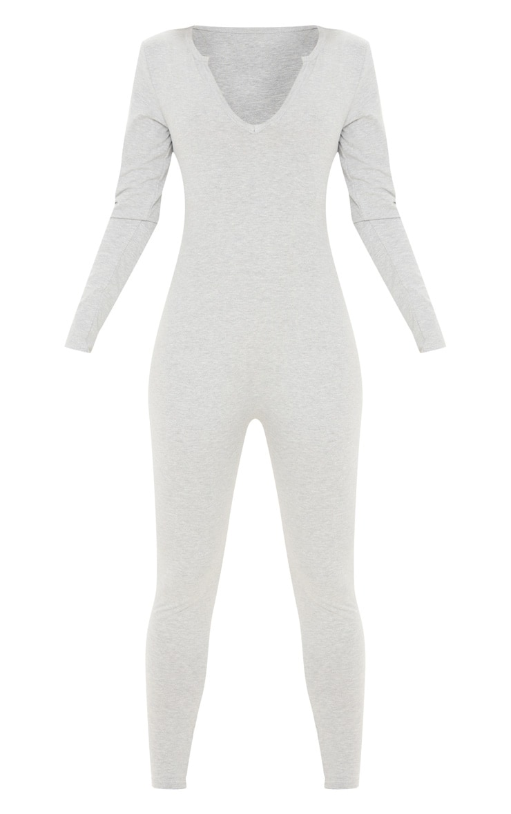 Grey Seamless Cotton Elastane V Neck Jumpsuit 3