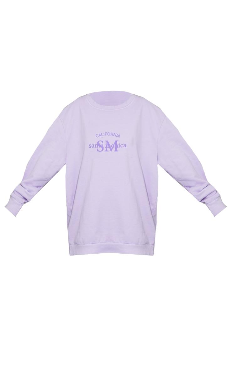 Washed Lilac Santa Monica Slogan Printed Sweatshirt 5