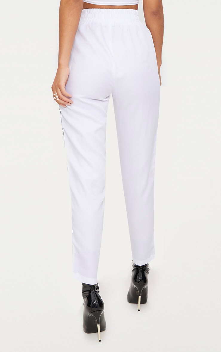 PRETTYLITTLETHING White Stripe Track Pants 4