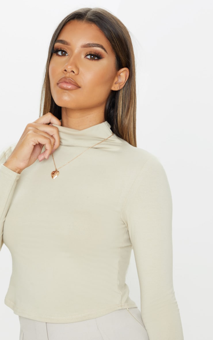 Sand Cotton Funnel Neck Long Sleeve Top 4