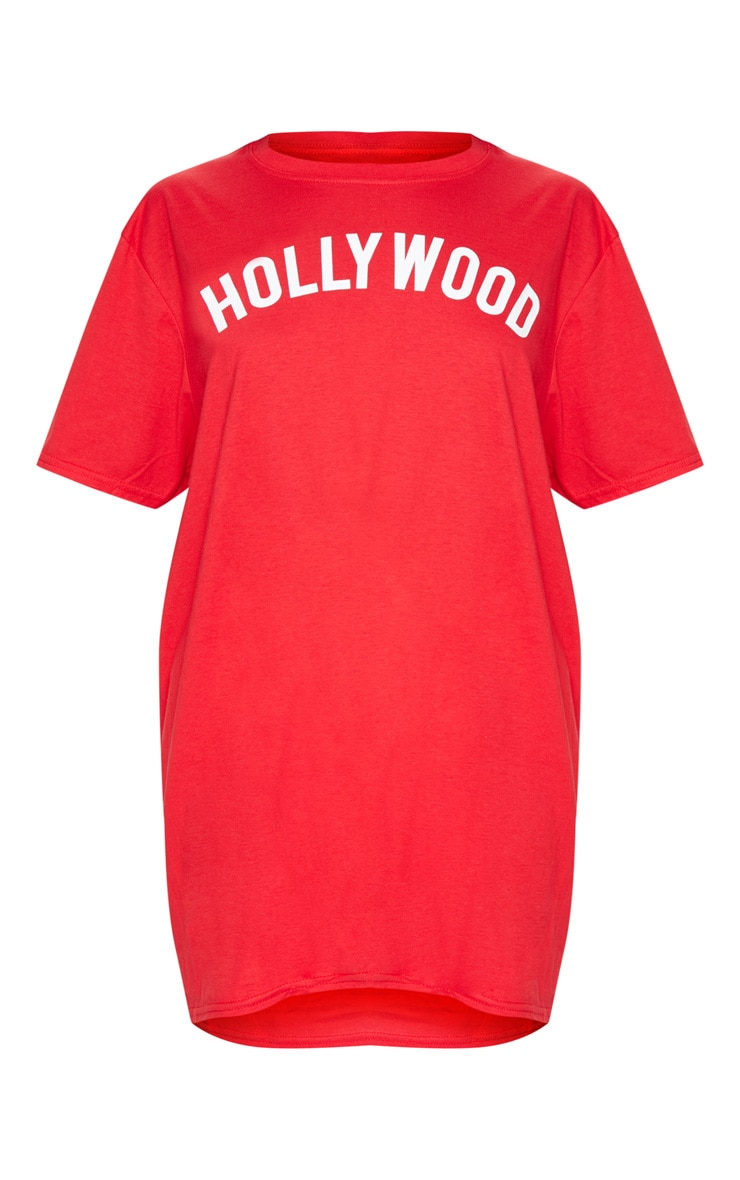 Red Hollywood Slogan Oversized T Shirt  3