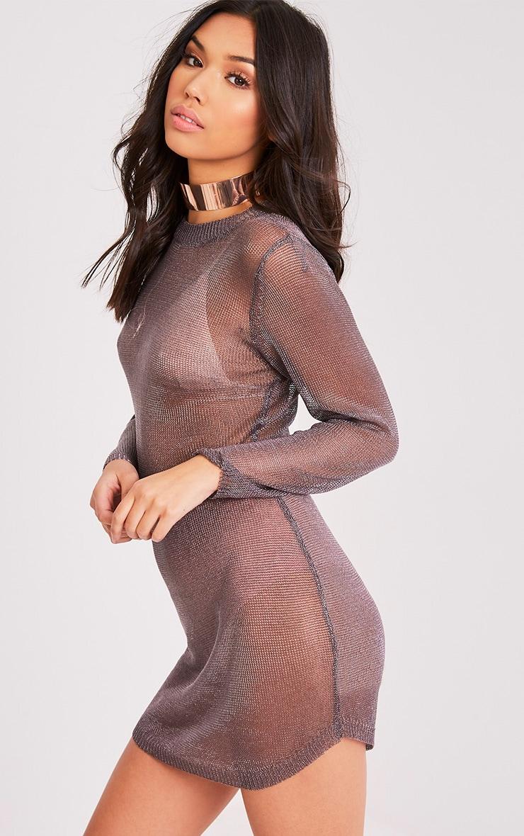 Acallia robe pull surdimensionné en maille étain métallisé 3