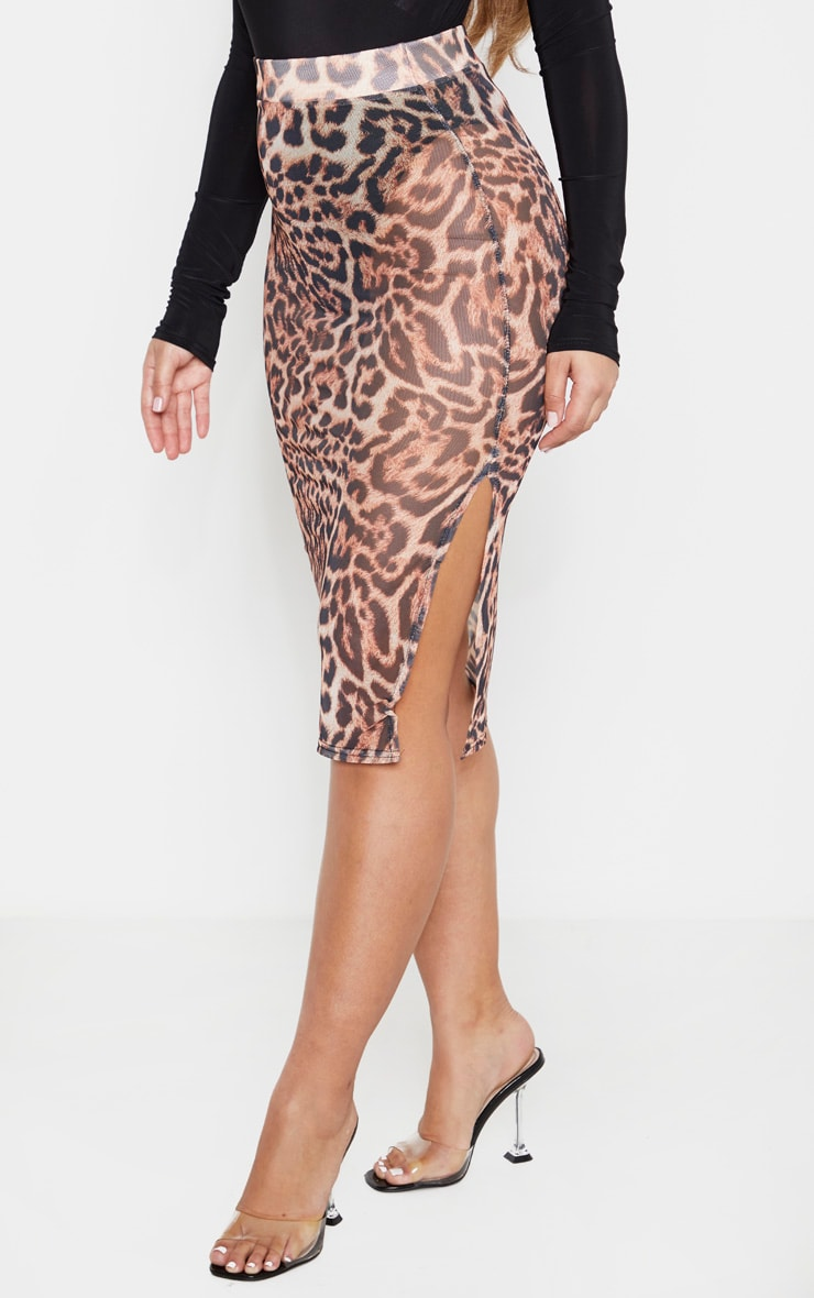 Leopard Print Mesh Midi Skirt  2