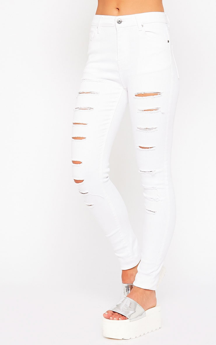 Caisley White Ripped Skinny Jean 3